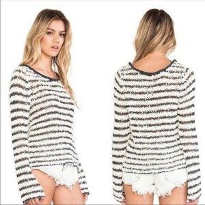 NEW Free People Downey Stripe Fuzzy Sweater
